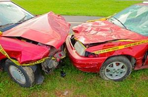Violent Head-On Collision Results in Two Car Accident